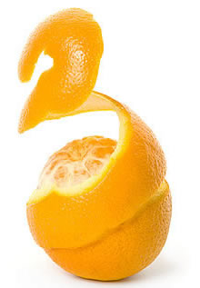 Orange being peeled
